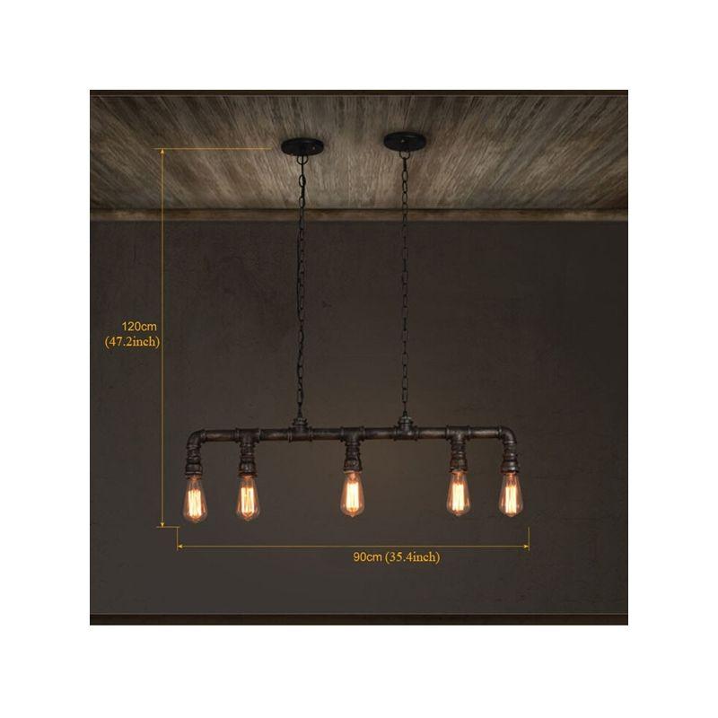 Suspension en Métal Pipe à 5 Lampes Lustre cuisine bar salle pas ...