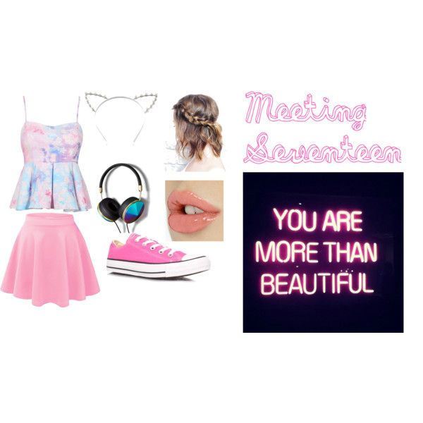 SEVENTEEN by callmegraysgirl on Polyvore featuring polyvore fashion style Converse Abercrombie & Fitch Candie's GALA