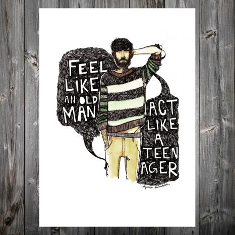 www.loudart.es. ¨Feel like an old man, act like a teenager ¨ by Alfonso Casas. Impresión Giclée en papel artístico de primera calidad desde 20€