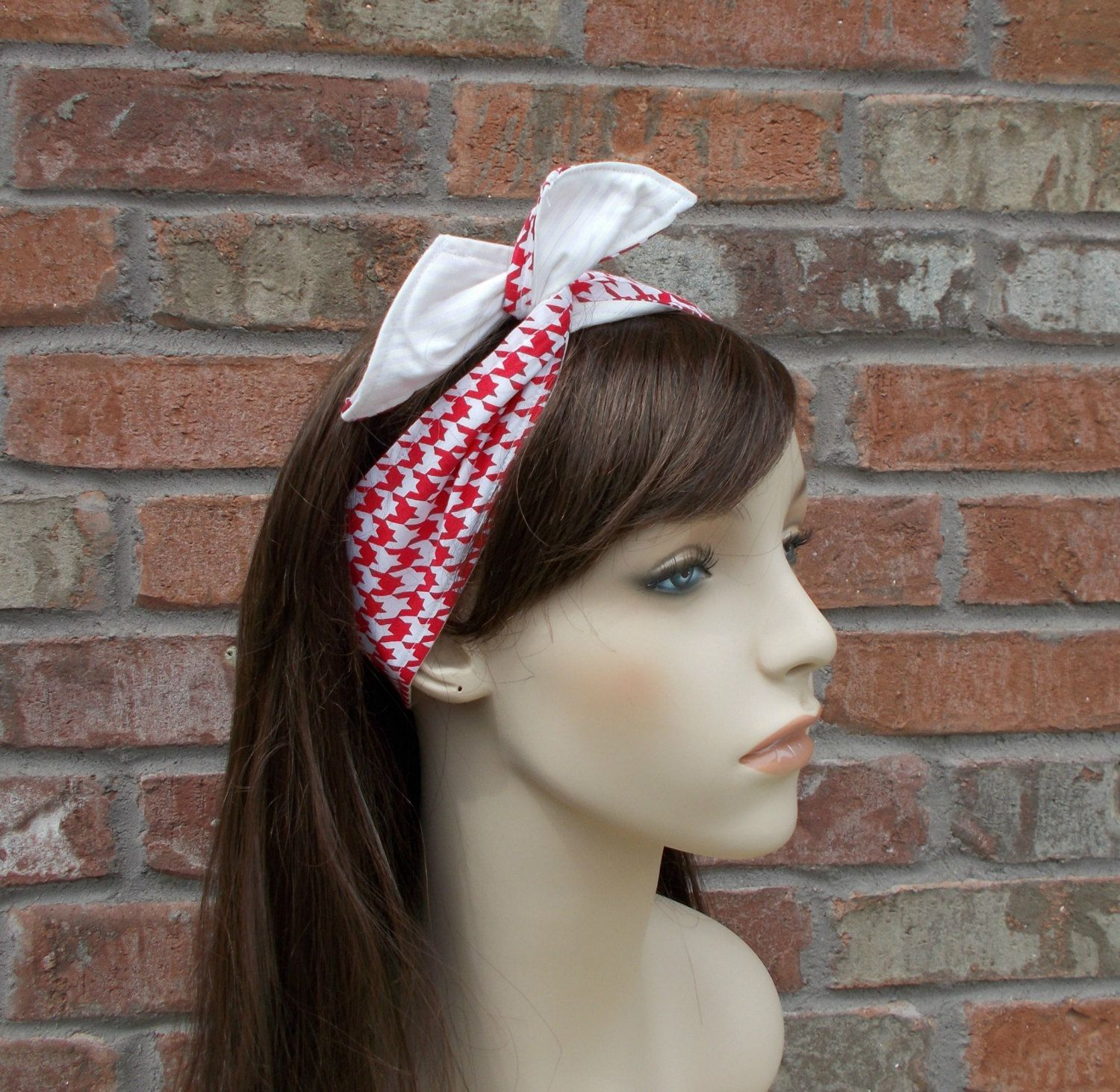 Wired Headband Red And White Houndstooth Reversible Wire Tween Hair Accessories Head