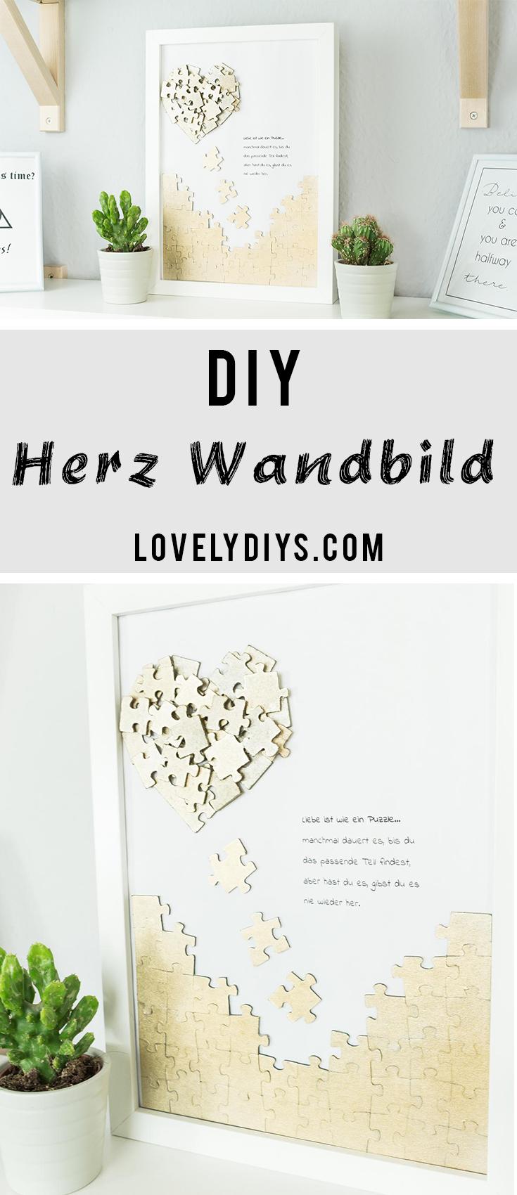 Puzzle Herz Wandbild basteln - schöne DIY Geschenkidee