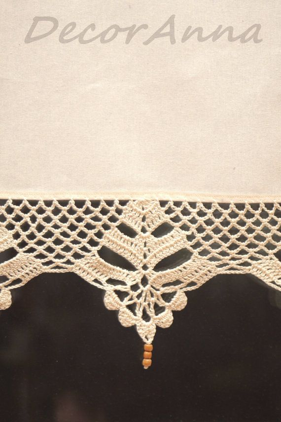 Crochet curtain, curtain with crochet lace, valance, cafe curtain ...