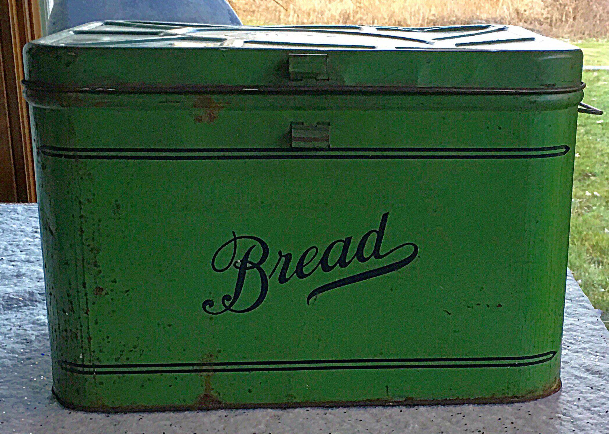 Farmhouse Primitive Green Metal Bread Box Primitive Green