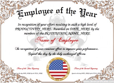employee of the year free certificate templates for staff you can add text images borders backgrounds select images from our library or upload your - Employee Of The Year Certificate Free Template