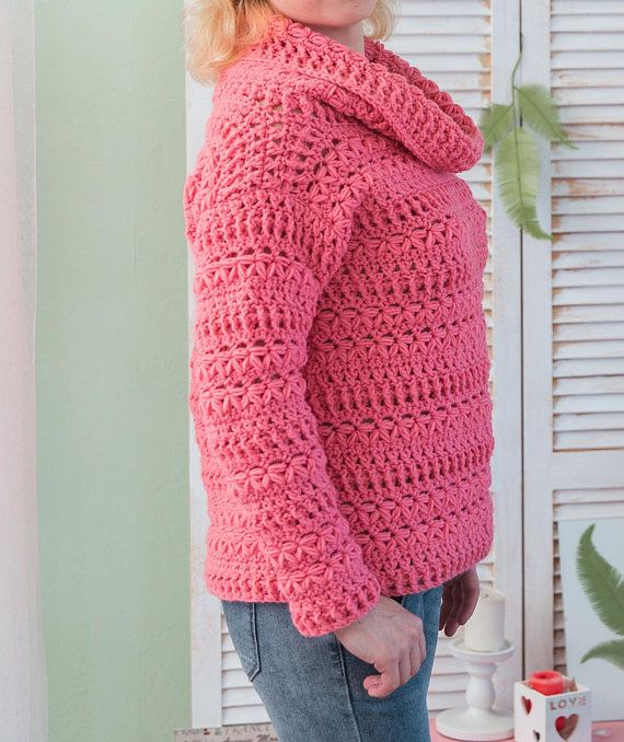 Crochet Sweater Pattern Wool Pullover Tutorial Warm Sweater