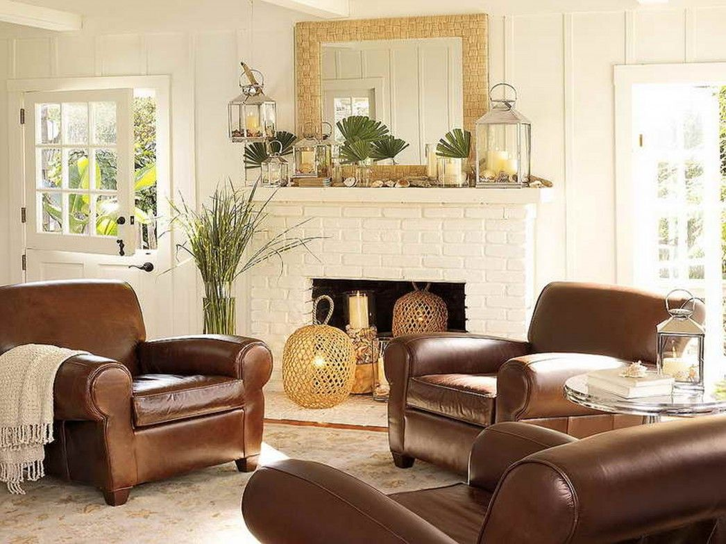 cottage style furniture living room with brown sofa | Image result for beachy home decor with dark furniture ...