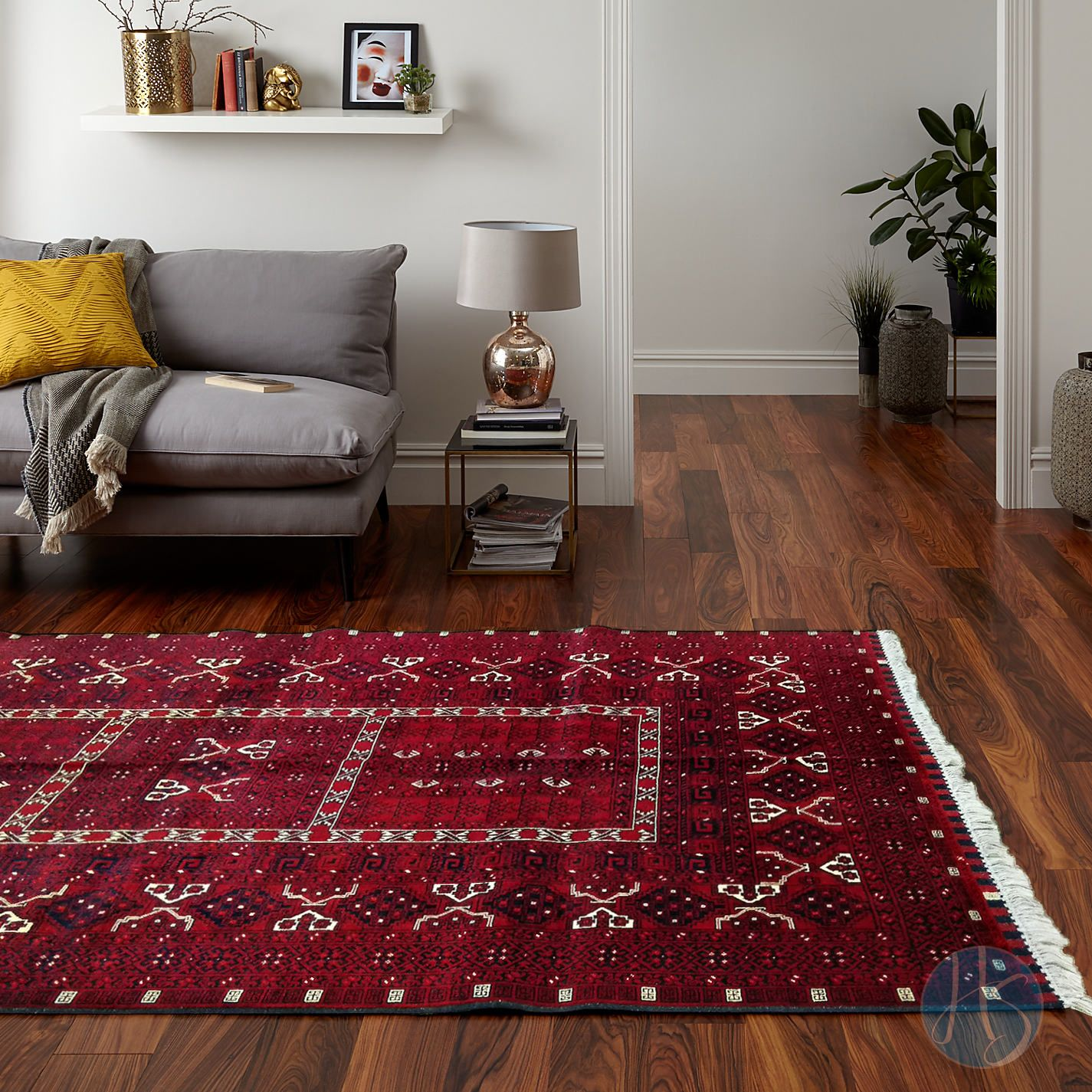 Rich Red Field With Dark Blue Orange And Beige Geometric Traditional Purdah Design This Persian Rug Living Room Rugs In Living Room Afghan Rugs Living Room