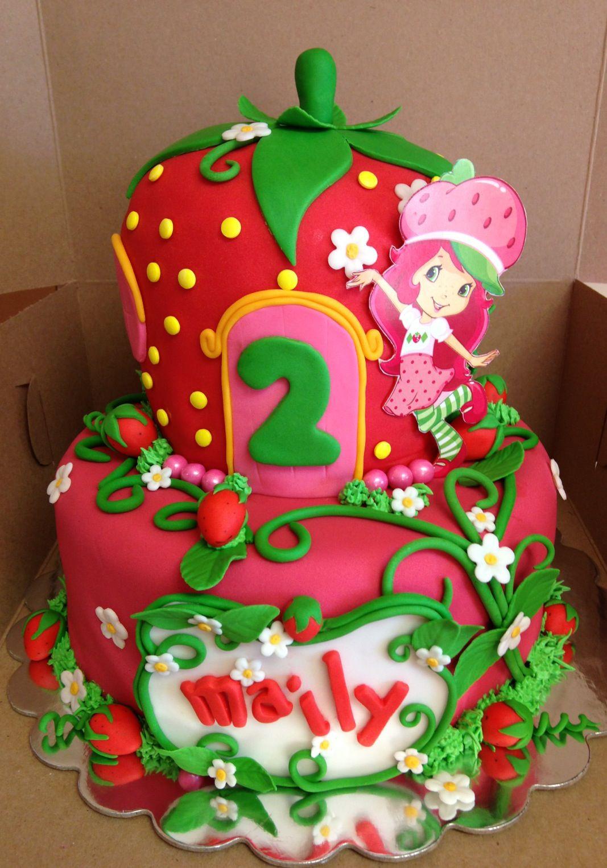 Sensational Mailys Strawberry Shortcake Theme Cake Strawberry Shortcake Personalised Birthday Cards Veneteletsinfo