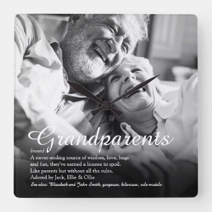 Personalised Photo Script Grandparents Definition Square Wall Clock | Zazzle.com #grandparentphoto