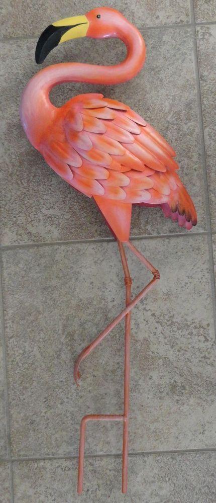 Pink Flamingo Metal Standing Art 3D Garden Yard Stake 640 x 480