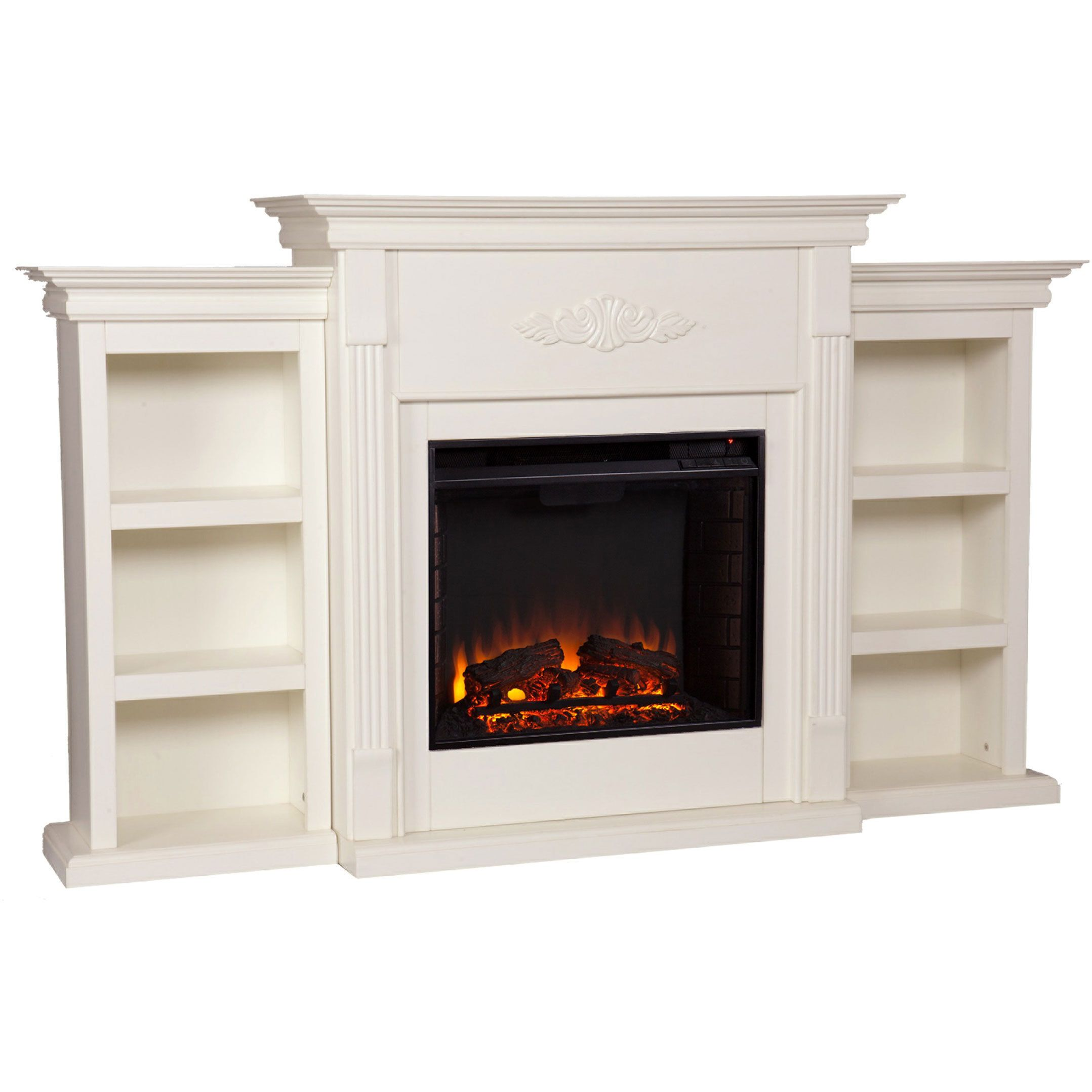 Update your decor with a classic ivory electric fireplace ideal for