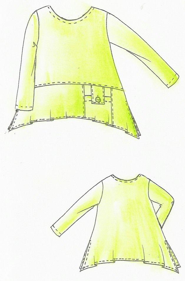 Lagenlook Einzel - Schnittmuster für Shirt TUNIS | Lagenlook ...