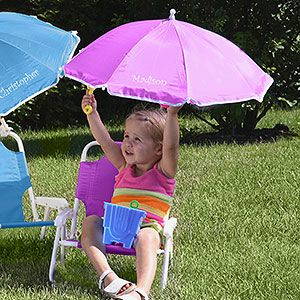 Personalized Child Beach Chair And Umbrella Set Pink Kids Gifts