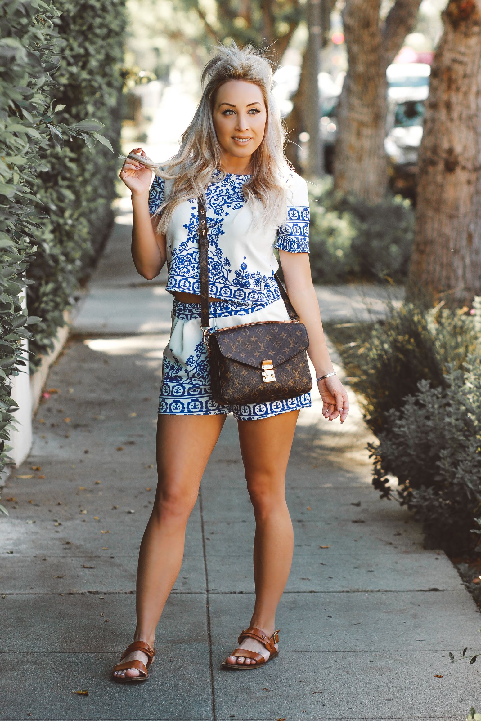 f945350d7302 Blondie in the City | Porcelain Print Two-Piece Outfit | Louis Vuitton  Pochette Metis
