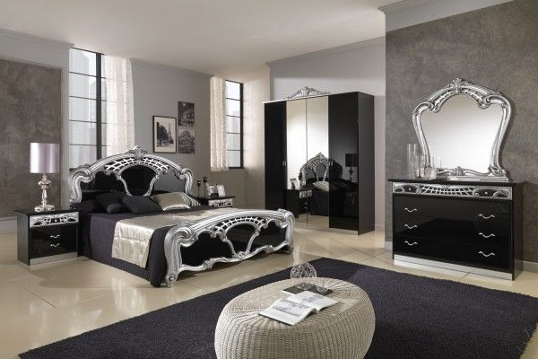 Antique Black And Silver Furniture Luxury Classic Bedroom