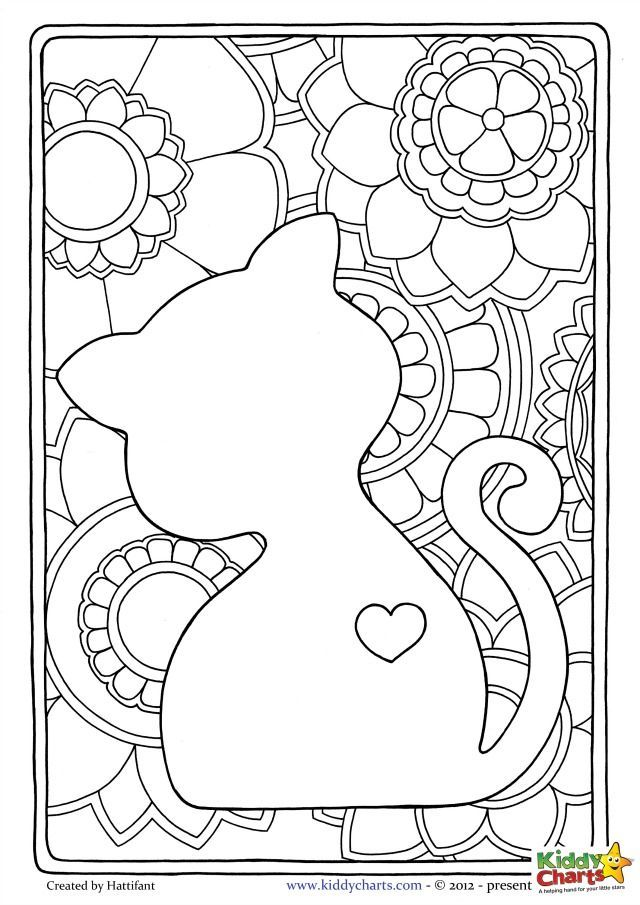 Cat Mindful Coloring Pages For Adults And Kids