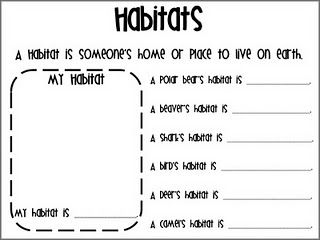 Habitats. I like this worksheet. However, I'll make my own because ...