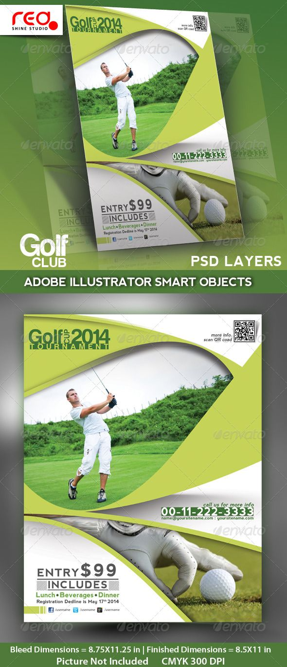 Golf Club Flyer Poster  Magzine Template  Golf Template And