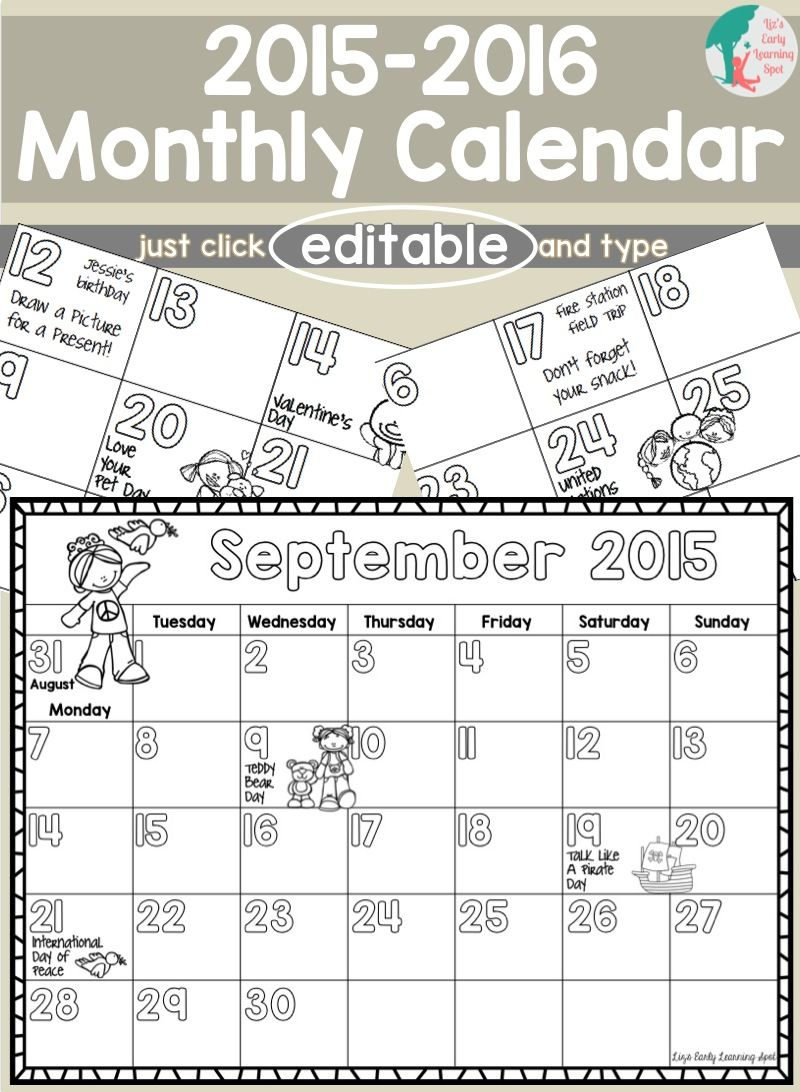 This calendar is an editable pdf. Some international days have been included such as smile day, tooth fairy day, indigenous day and earth day. Great for coloring and using during calendar time and to keep parents informed. $
