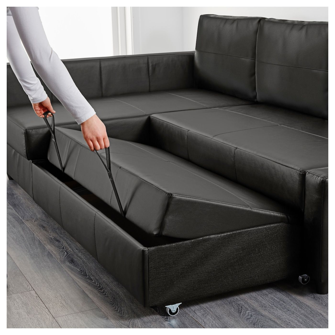 Friheten Sleeper Sectional 3 Seat W Storage Bomstad Black