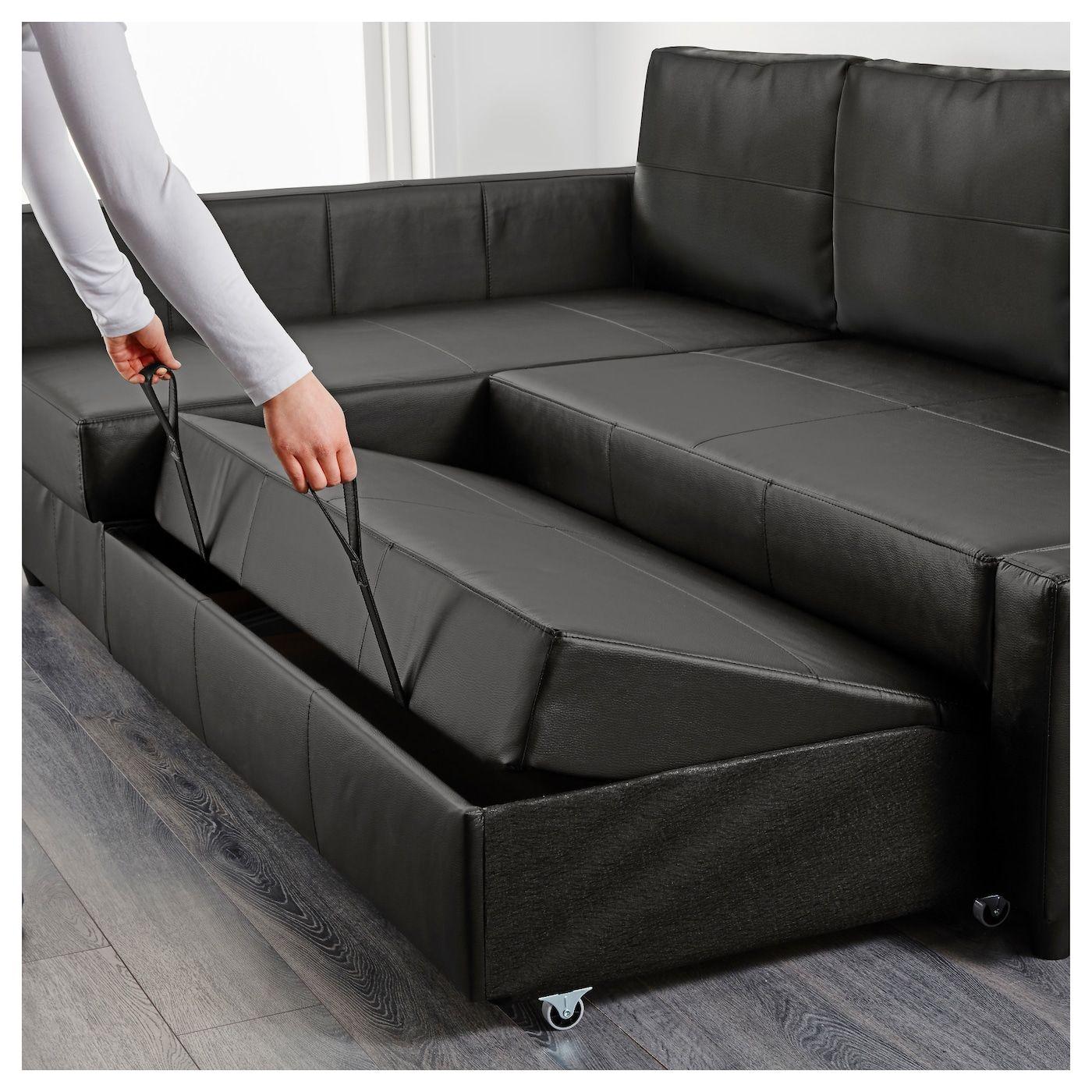 Friheten Sleeper Sectional 3 Seat W Storage Bomstad Black Ikea In 2021 Corner Sofa Bed With Storage Sofa Bed With Storage Leather Sofa Bed
