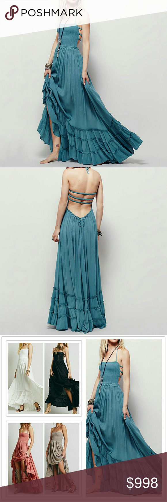 Hp gorgeous strappy backless boho maxi dress boutique sexy