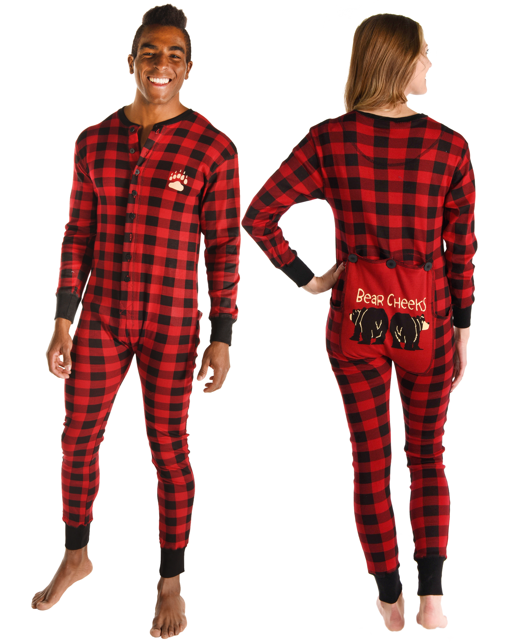 Bear Cheek Plaid Adult Onesie Flapjack Adult onesie