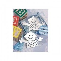 Simpático Baby Punto de Libro en estuche Azul.  Tienda de #Regalos economicos en España para #Bautizos. Siguenos en https://www.facebook.com/bodasbautizoscomunionesregalos