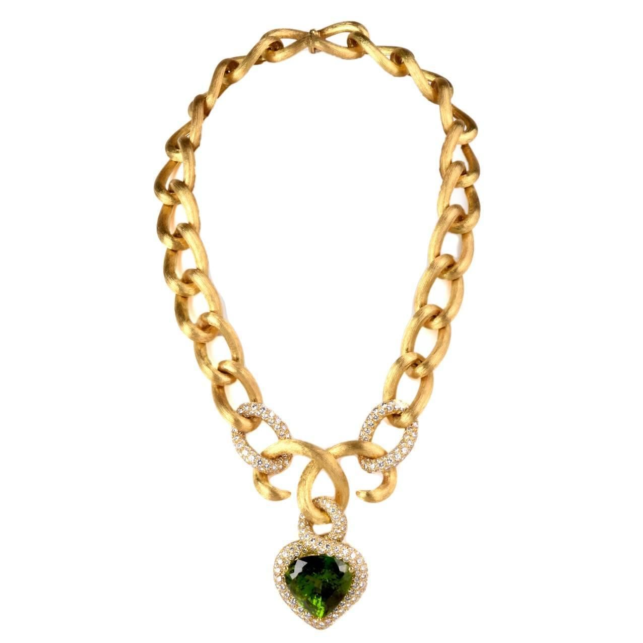 Henry Dunay GIA Cert 61.97 Carat Peridot Diamond gold Heart Pendant Necklace | See more rare vintage Drop Necklaces at https://www.1stdibs.com/jewelry/necklaces/drop-necklaces