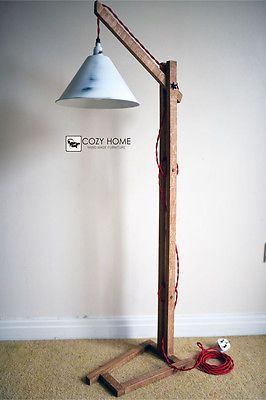 Vintage Wooden Stand Lamp Floor Lamp Standing Bedside Lamps Rustic Wooden Stand Decor