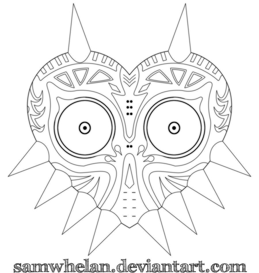 Majora S Mask Lineart By Samwhelan On Deviantart Majoras Mask Art Majoras Mask Art Drawings Sketches Simple