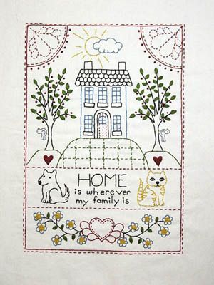 Sampler Home Is Wherever My Family Is Stitcheries