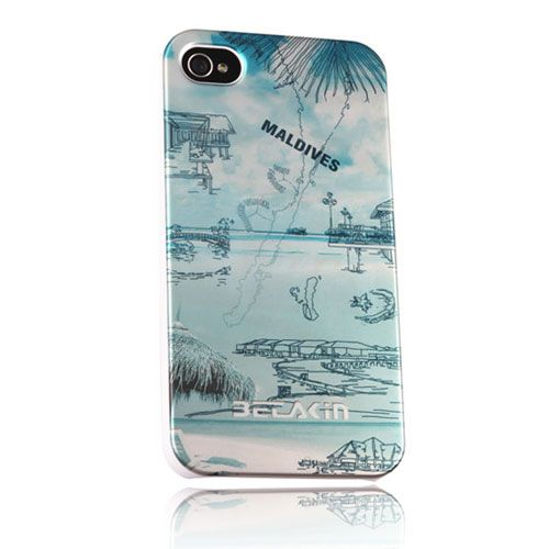 Betakin Brand Apple iPhone 4 / 4S Hard Maldives Landscape Sided Cover Case w/ Screen Protector & Cleaning Cloth w/ Retail Package