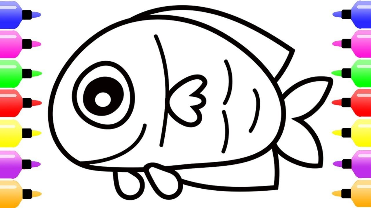 Sea Animals Coloring Page for Kids with Colored Marker | Coloring ...