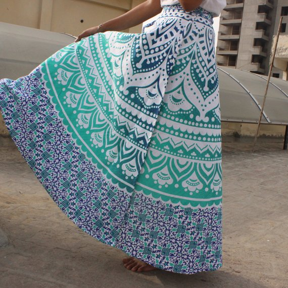 3cd7eac0885 Green Mandala wrap skirts
