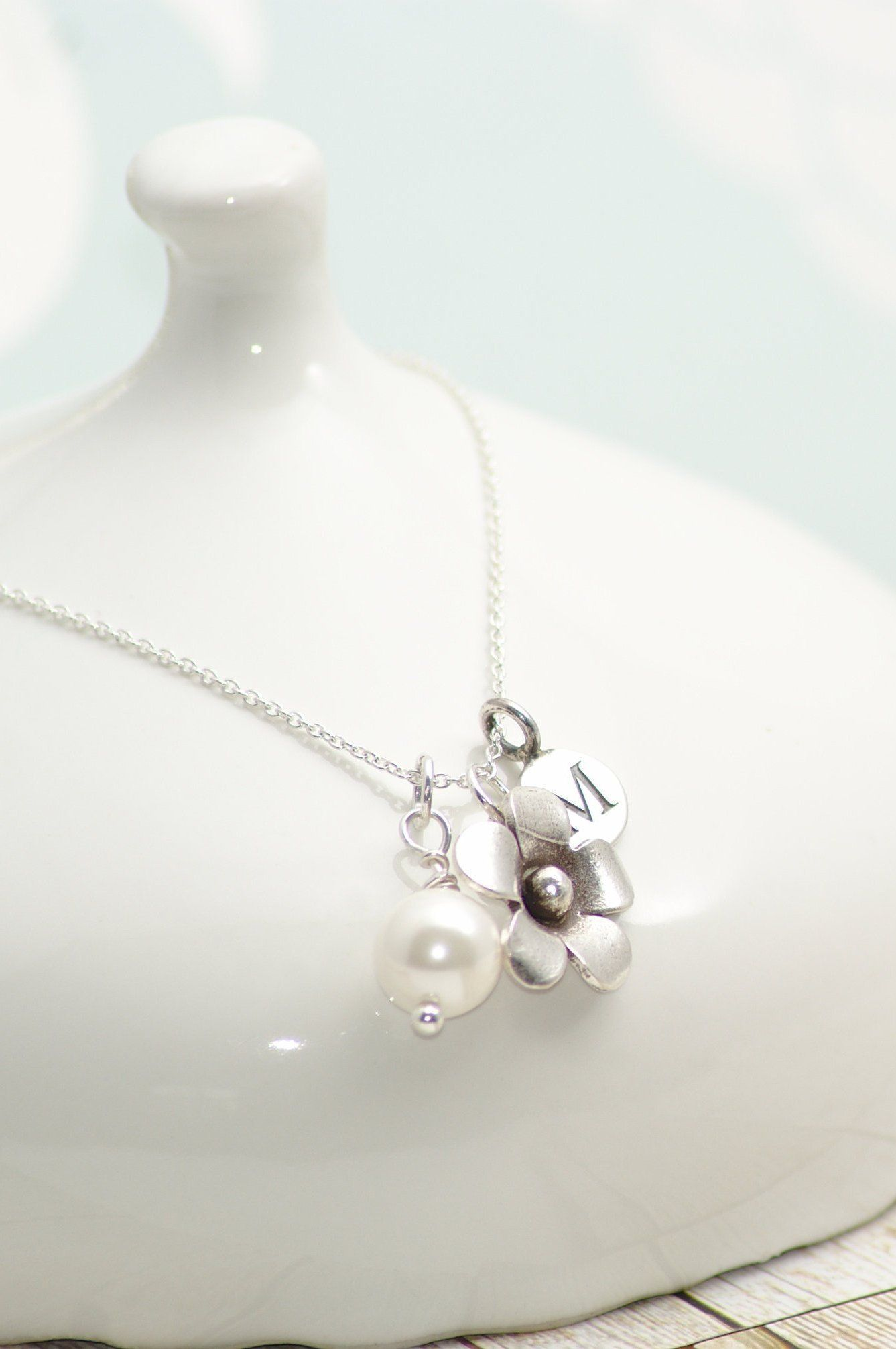Silver Flower and Pearl Personalised Necklace, June
