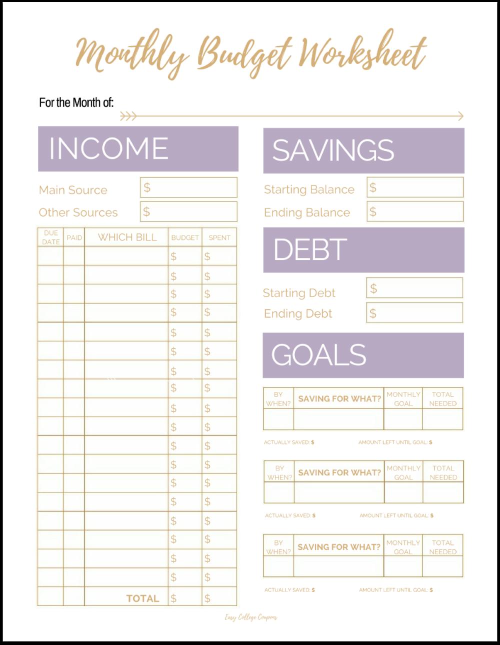 Free Printable Monthly Budget Template Budget Planner Free Monthly Budget Printable Budget Template Printable