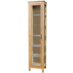 Solid Wood Tall Narrow Cabinet Display Storage Cabinet Tall Cabinet Storage