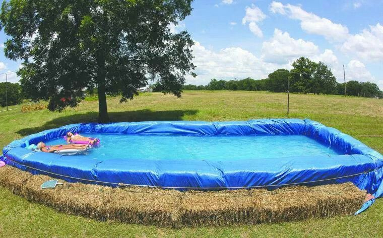 18 ways to use straw bales for a shabby chic wedding - Redneck swimming pool with hay bales ...