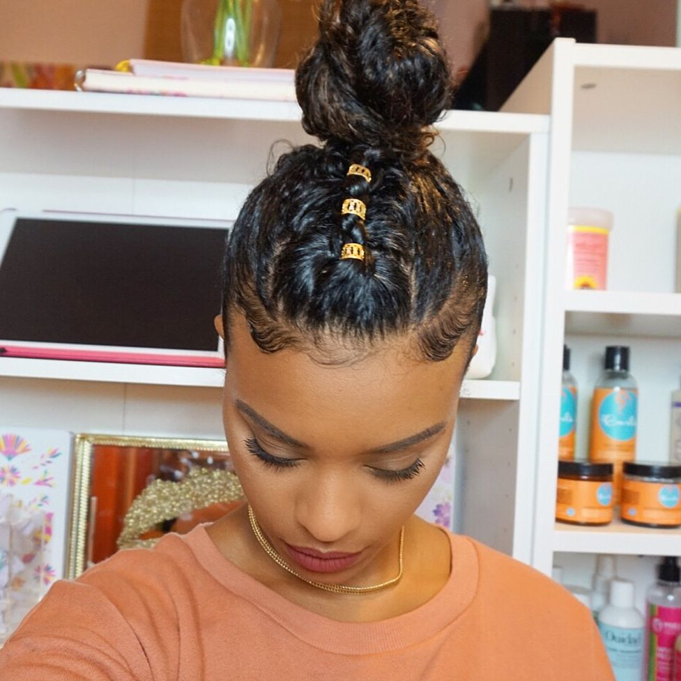 Rainy Days Call For Updos Single Braid Down The Middle With 3 Gold Cuffs I Got Them At The Beauty Su Natural Hair Styles Easy Hair Styles Natural Hair Styles