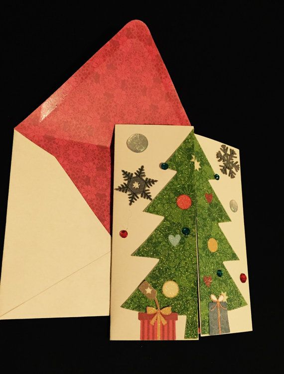 Christmas Tree Folded Card Unique Christmas by CraftyCraveDesigns