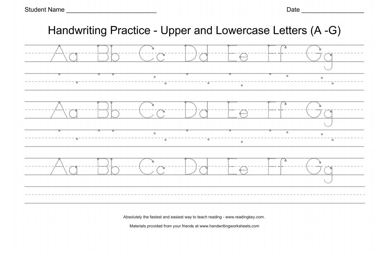 Handwriting Practice Upper And Lowercase Letters A G Upper And Lowercase Letters Handwriting Practice Lower Case Letters