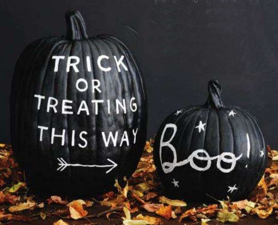 """chalkboard pumpkins // audrey says, """"if i had thought to write that on a pumpkin like that then i would."""""""