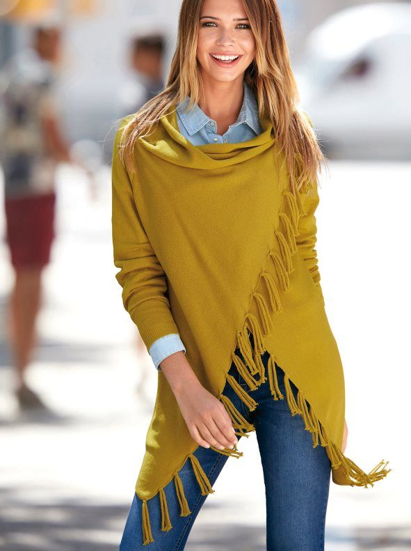 e636e79d4c7 Chaqueta cárdigan mujer cruzada con flecos en tricot