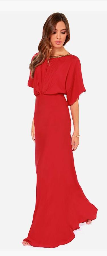 8becc333b0 Break Free Beaded Red Maxi Dress