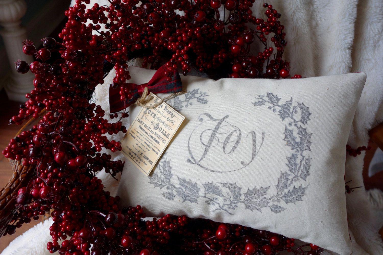 Joy Holly Wreath Pillow, Lodge Tartan Pillow, Cabin Holiday Pillow ...