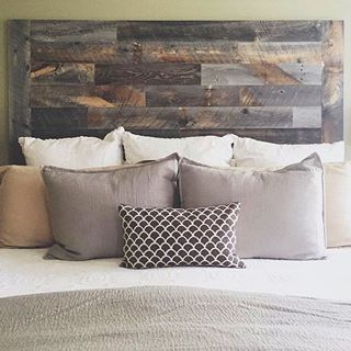 platform wood grey bed for mounted com toss classic pillows using queen justhomeit color nice rustic and printed ideas weathered with headboard vintage sconces why reclaimed bedroom modern wall