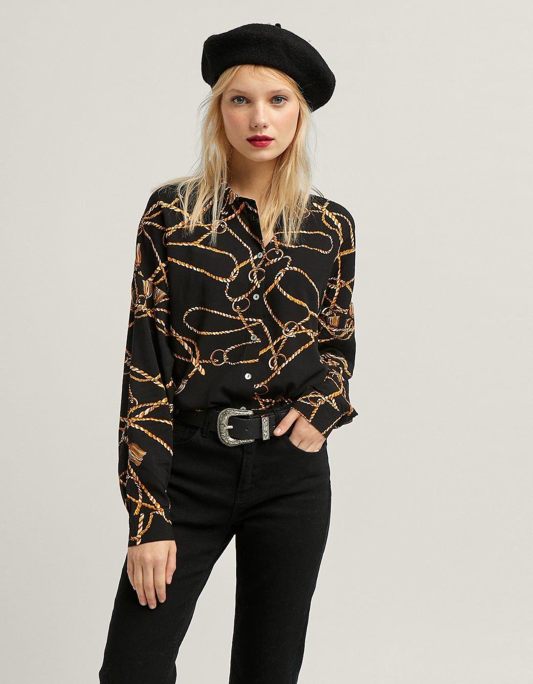 09371144 Camisa print cadenas - Nuevo de mujer | Stradivarius | Inditex-Mango ...