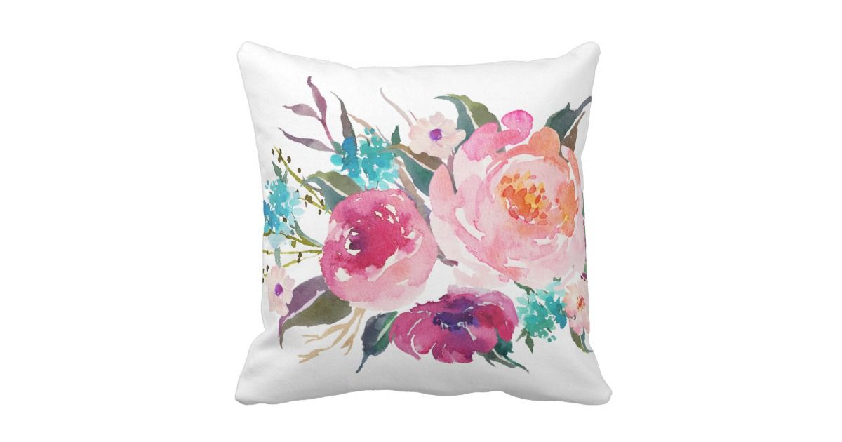 Floral Turquoise Pink Watercolor Bouquet Throw Pillow Kartu Kertas Kartu Bunga