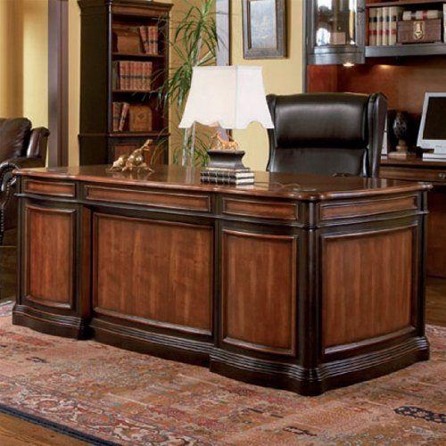 2 Toned Large Wood Desk On Rug